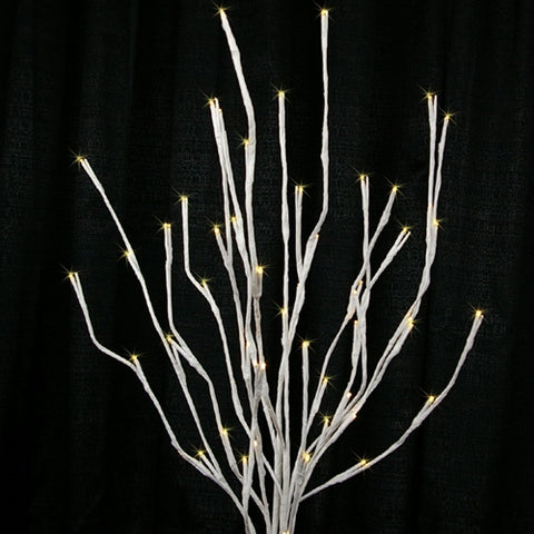 Lighted Silver Manzanita Branches with Base, 36 inch, Electric, White