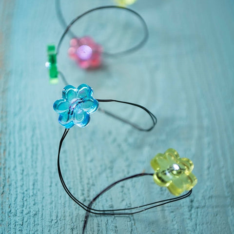 LED Fairy Lights, 3.3 ft Ultra Thin Silver Wire, 20 Multicolor Flowers
