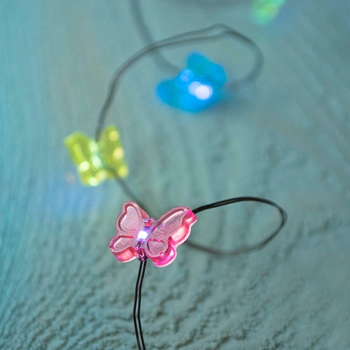 Fairy Lights, LED, 6 foot, Black Wire, Battery, Multi, Butterflies