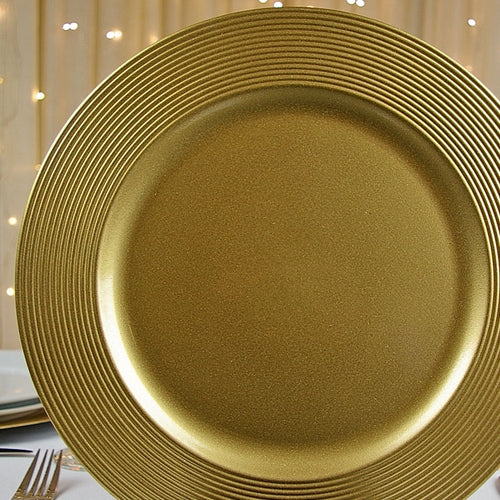 Round Charger Plates, Grooved Edge, Gold, 13 inch, Set of 12