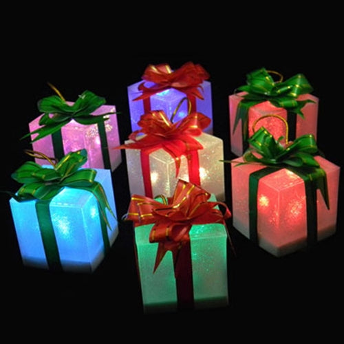 Lighted Gift Box, Color Changing, Red-Green Bow, 2.75 inches, Set of 12