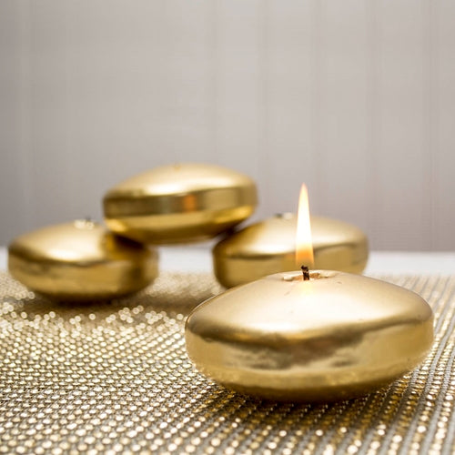 Floating Disc Candle, Unscented, 3.25 inch, Metallic Gold, 12 Pack