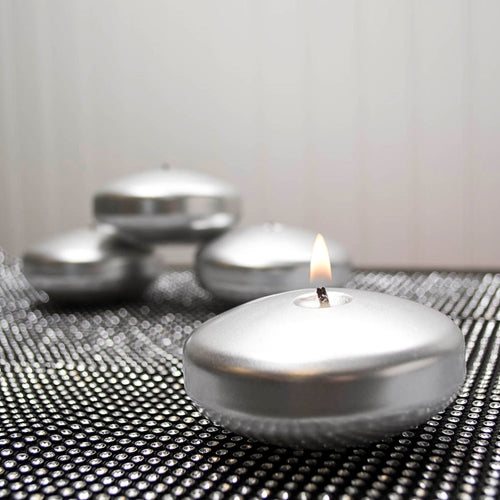 Floating Disc Candle, Unscented, 3.25 inch, Metallic Silver, 12 Pack