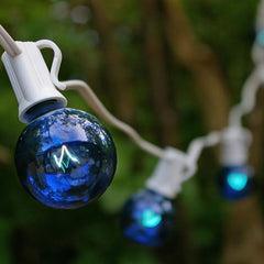 Globe String Lights, 1.5 Inch E12 Bulbs, 25 Foot White Wire C7 Strand, Blue