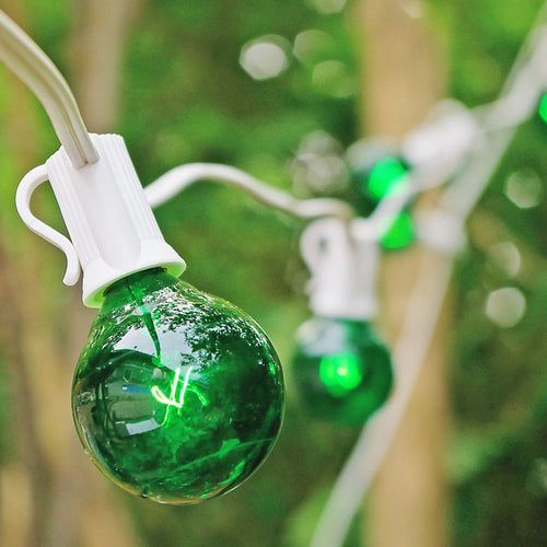Globe String Lights, 1.5 Inch E12 Bulbs, 25 Foot White Wire C7 Strand, Green
