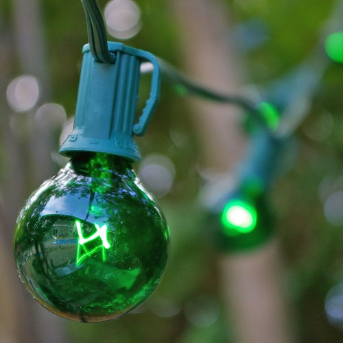 Globe String Lights, 1.5 Inch E12 Bulbs, 25 Foot Green Wire C7 Strand, Green