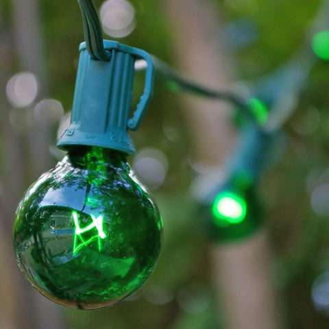 Commercial Globe String Lights, 25ft E12 White Wire, G40 Bulbs, Green