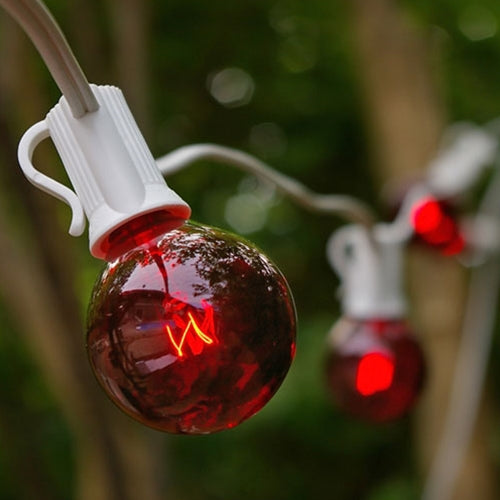 Globe String Lights, 1.5 Inch E12 Bulbs, 25 ft. White Wire C7 Strand, Red