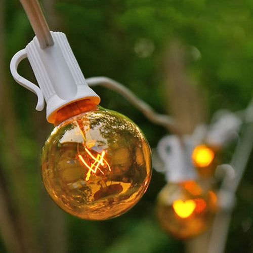 Globe String Lights, 1.5 Inch Bulbs, 25 Foot White Wire C7 Strand, Yellow