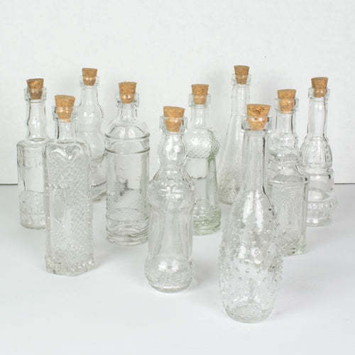 Glass Bottles with Cork, Vintage Bud Vases, 4.5 inch, Clear, 10 pieces