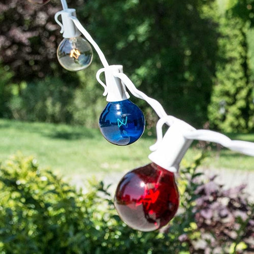 Patriotic Globe String Lights, 1.5 in G40, 25 ft White Wire C7, Red White & Blue