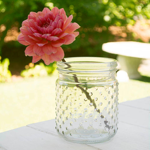 Vintage Hobnail Clear Glass Jar Candle Holder, Vase, Small, Pack of 24
