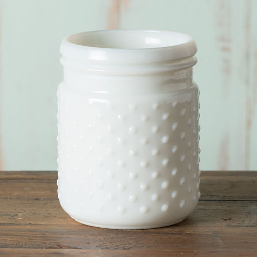 Vintage Hobnail White Milk Glass Jar Candle Holder, Antique Vase, Small