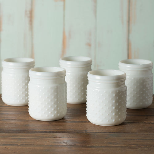 Vintage Hobnail White Milk Glass Jar Candle Holder, Antique, Small, Pack of 24