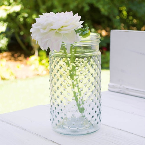 Vintage Hobnail Clear Glass Jar Candle Holder, Medium Antique Vase Pack of 12
