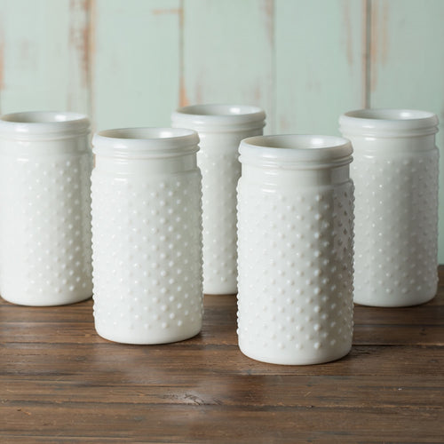 Vintage Hobnail White Milk Glass Jar Candle Holder, Medium Antique Vase, 12 Pk