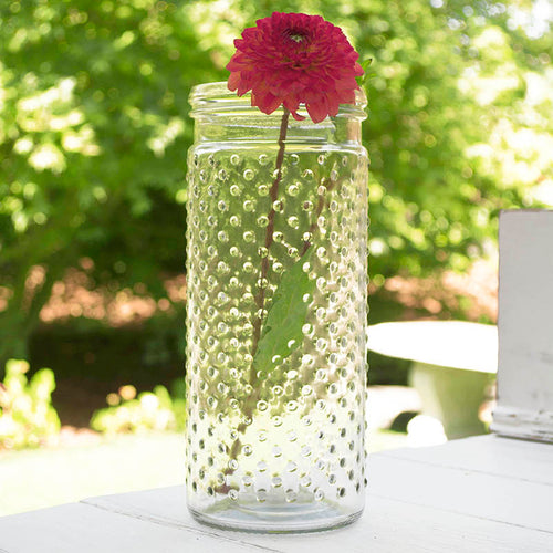 Vintage Hobnail Clear Glass Jar Candle Holder, Antique Vase, Large, Pack of 12