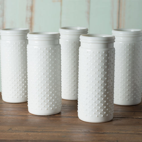 Vintage Hobnail White Milk Glass Jar Candle Holder, Antique Vase, Large, 12 Pk