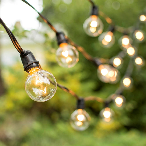Commercial Globe String Lights, 100 Foot Black Wire, G50 Clear Bulbs