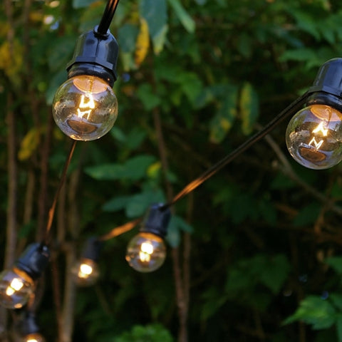 Cafe String Lights, S14 Edison Bulbs, 35 ft Black Wire, Silver Shades
