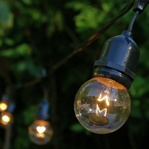 Commercial Drop Globe String Lights, 48 Foot Black Wire, 2 inch Clear Bulbs