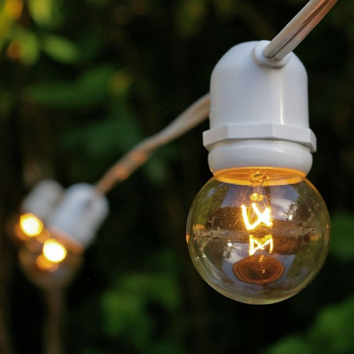 Commercial Globe String Lights, 48 Foot White Wire, 2 inch Clear Bulbs