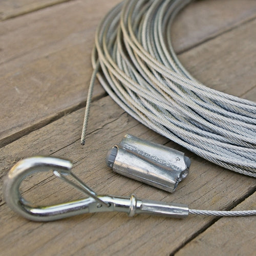 Globe Light Suspension Kit, Galvanized Steel Cable Guide Wire, 110 ft.