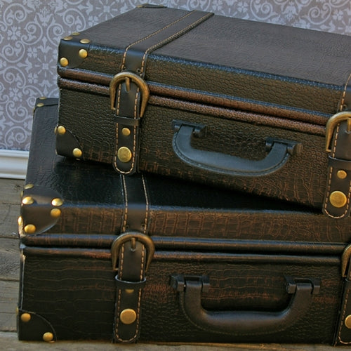 Vintage Luggage, Faux Leather Suitcase, Dark Brown, Set of 2