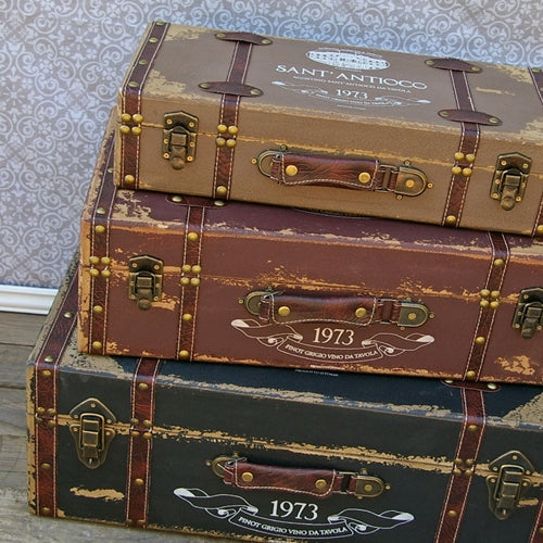 Vintage Trunk, Antique Luggage Suitcase, Set of 3