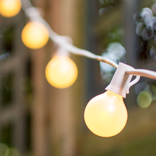 Globe String Lights, 1.5 in. E12 Bulbs, 11 ft. White Wire C7 Strand, Pearl