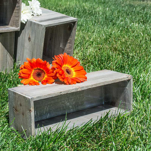 Wood Planter Box, Rustic Barn Wood, Plastic Liner, Rectangle, 12 x 4 inch