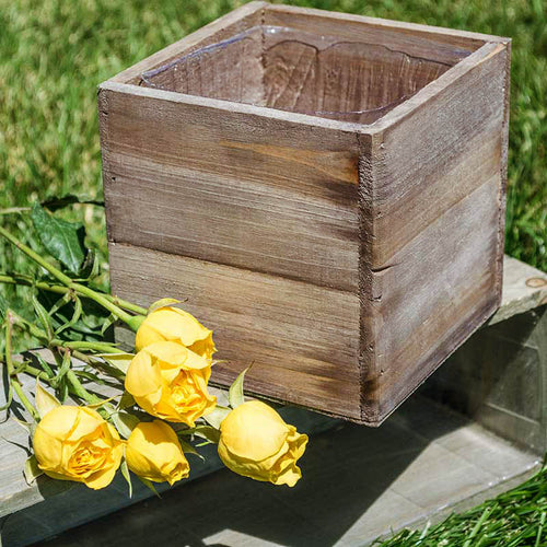 Wood Planter Box, Rustic Barn Wood, Plastic Liner, Square, 5 inch