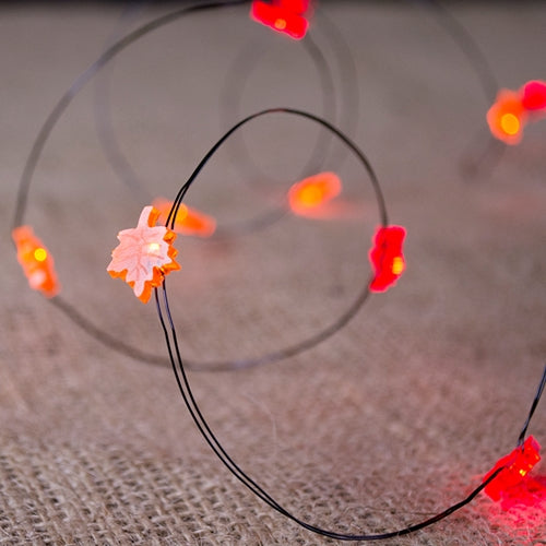 Fairy Lights, 20 Micro LED Orange Fall Leaves, Fall Leaf, 6 feet, Black Wire
