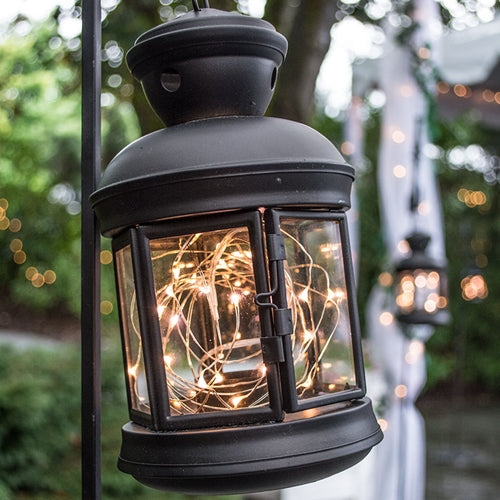 It's Judy's Lantern, Black Hexagonal Lantern with Warm White Fairy Lights