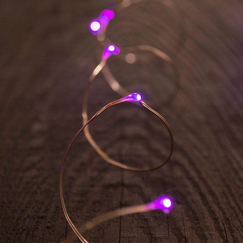 Fairy Lights, LED, 6 foot, Silver Wire, Battery, Timer, Purple