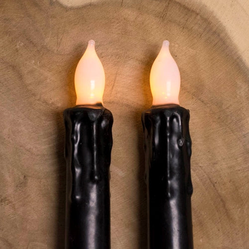 Stick Candle, LED, Flickering Amber Bulb, 6.25 in., Black, 2 Pack