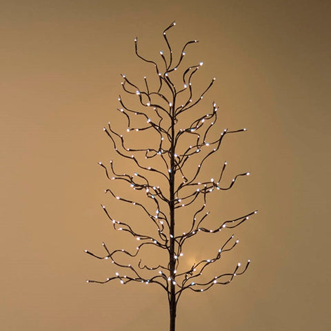 LED Lighted Winter Tree, Flocked Snow, Christmas Decor, 5ft, Warm White