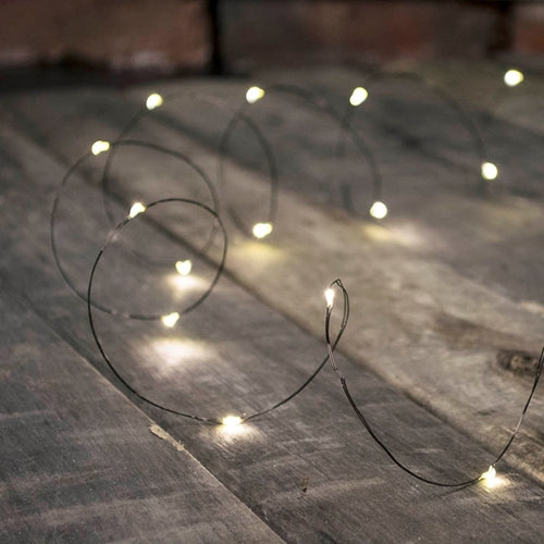 Fairy Lights, LED, 20 foot, Black Wire, Timer, Warm White