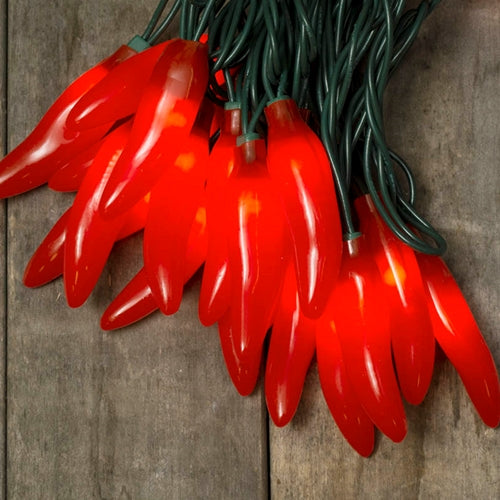 Chili Pepper Fiesta String Lights, Plug-In, 35 Red Bulbs
