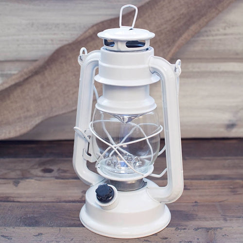 Hurricane Lantern Light, 9.5 inch Metal, Battery Op. Dimmable LED, White