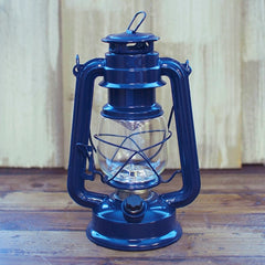 Hurricane Lantern Light, 9.5 in Metal, Battery Op. Dimmable LED, Blue