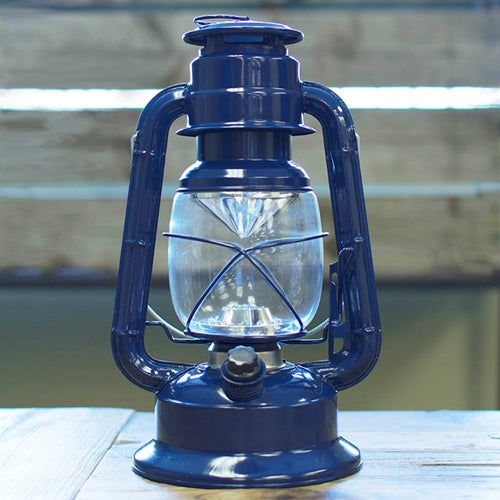 Hurricane Lantern Light, 11.5 in Metal, Battery Op. Dimmable LED, Blue