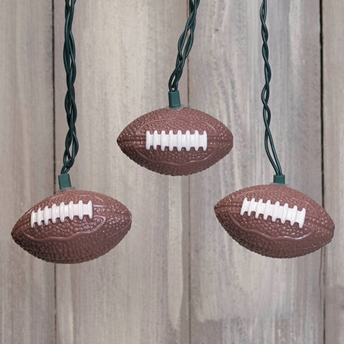 String Lights, Football, Super Bowl, Outdoor, Green Wire, 11 ft., Plug In