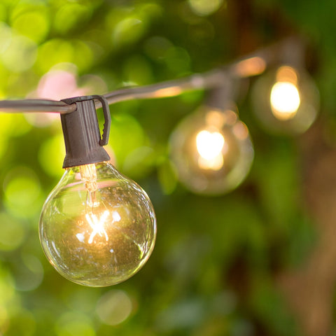 Globe String Lights, 1.5 Inch E12 Bulbs, 25 Foot Green Wire C7 Strand, Clear