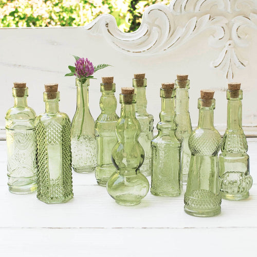 Glass Bottles with Cork, Vintage Bud Vases, 5.5 inch, Green, 10 pieces