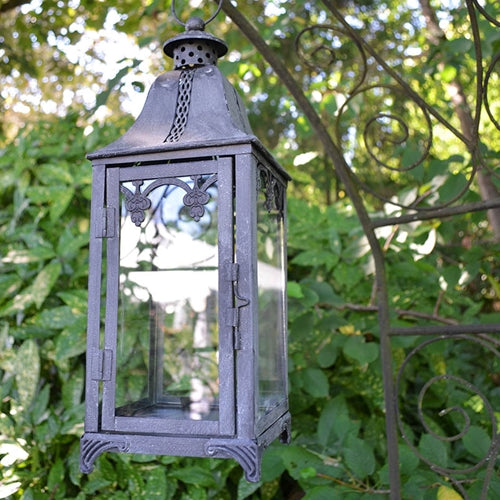 Metal Lantern, Filigree Details, 6 x 15.75 in., Distressed Black