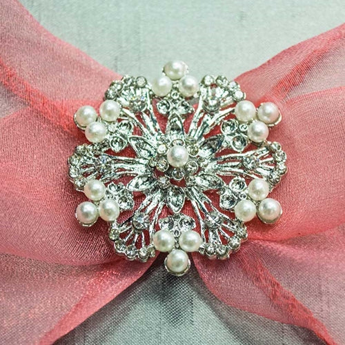 Wedding Bouquet Buckle Jewelry, Flower Blossom, Diamond & Pearl Accents