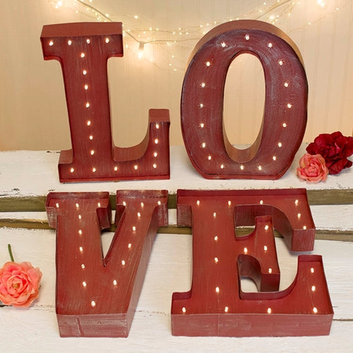Marquee LED Light, Metal Love Sign, Industrial Letters, Battery Op, 12 in., Red