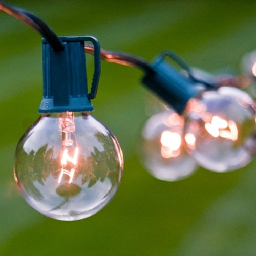 Globe String Lights, 1.5 Inch Bulbs, 10 Foot Green Wire, Clear