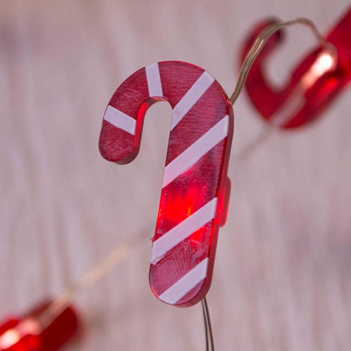 LED Fairy Lights, Candy Cane, Christmas, Silver Wire, 40 inches, Warm White